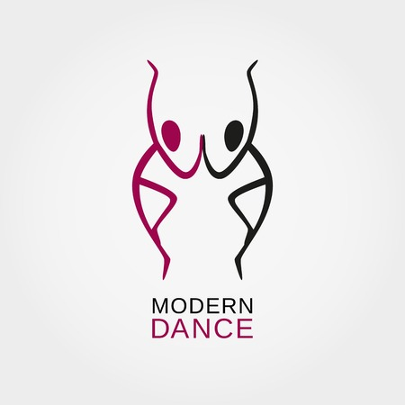 Dance icon concept. Character. Modern ballet studio design template. Fitness class banner background with symbol of abstract people ballerina in dancing poses. Vector illustration.