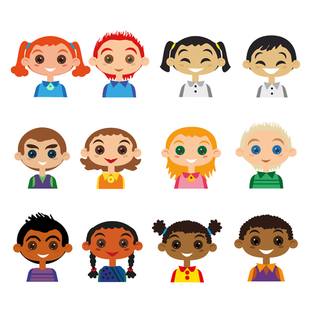 mexican boys: Kids of different nationality. Child Avatar set. Cartoon happy smiling Girls and boys of different colors, countries and nations. Illustration