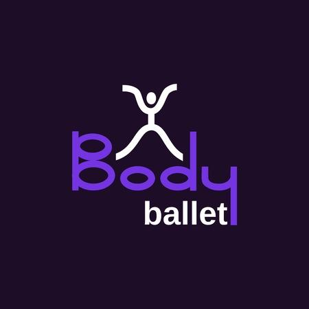 male ballet dancer: Dance icon concept. Body Ballet studio design template. Illustration
