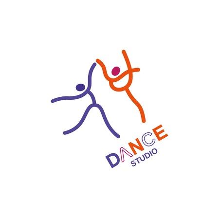 Dance icon concept. Ballet studio design template. Illustration