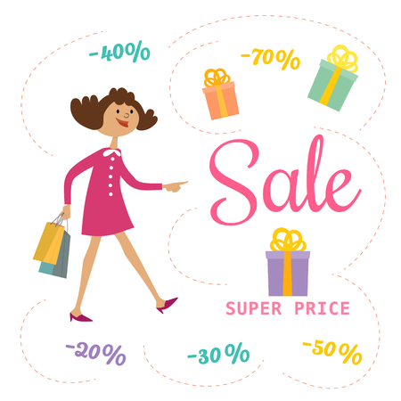 Super sale Concept. Cartoon cute character girl shopping special bonus. Discount offer promotion. Design element of season hot deal banner. Background for advertisement event. Illustration