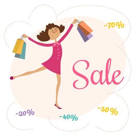 promotion girl: Super sale Concept. Cartoon cute character girl shopping special bonus. Discount offer promotion. Design element of season hot deal banner. Background for advertisement event. Illustration