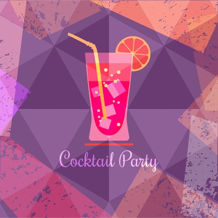abstract liquor: Drink concept. Cocktail Party Invitation Poster. Abstract fresh liquor in glass. Design idea for background of banner with refreshing citrus cool beverage. Vintage grunge style. Illustration