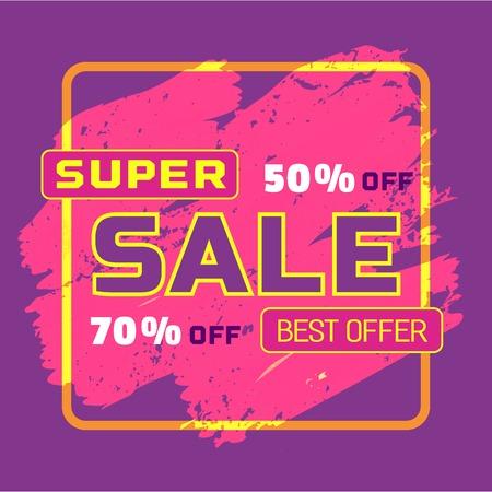 super hot: Super sale Concept. Off price special bonus. Big Discount offer promotion. Price drop. Flat design element of season hot deal campaign banner. Background for advertisement event.