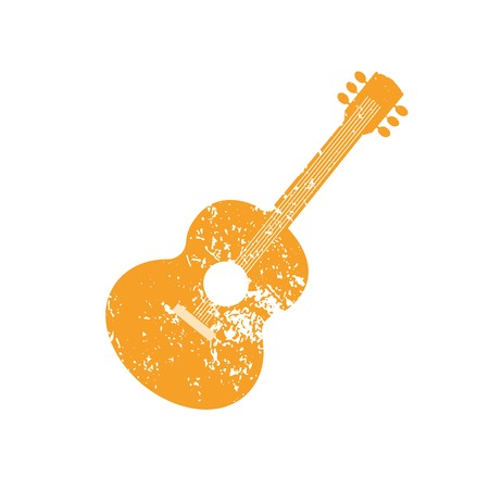unplug: Template Design Poster with acoustic guitar silhouette.