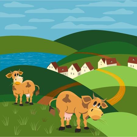 jersey cow: Milk cow. Mammals animals. Rural landscape background.