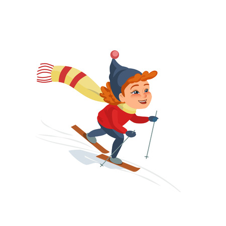 promotion girl: Cartoon skiing girl on snowy hill. Kid icon isolated on white. Cute smiling happy child on ski enjoy winter outdoors sport. Idea to advertise active lifestyle. Vector Illustration.