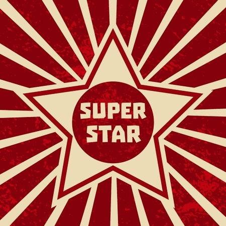 Super star banner. Starring shape. Success superstar Victory winning  Concept. Design idea for Leader boss, sport hero, movie actor red carpet awarding ceremony background. Vector illustration Illustration