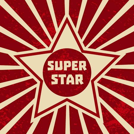 superstar: Super star banner. Starring shape. Success superstar Victory winning  Concept. Design idea for Leader boss, sport hero, movie actor red carpet awarding ceremony background. Vector illustration Illustration