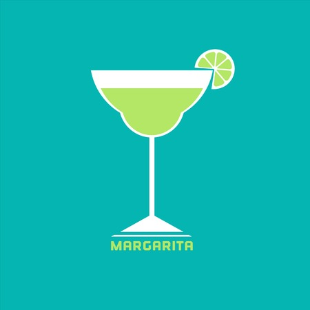 lime: Drinks concept. Margarita Flat design icon. Martini cocktail in glass with lime slice.