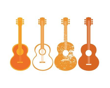Modello per il Poster Design. Set silhouette di chitarra acustica. Idea per annunciare l'evento Live Music con le chitarre. Festival Acoustic Music pubblicità sfondo promozionale. Illustrazione vettoriale. Vettoriali