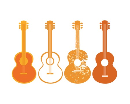 Template for Design Poster. Acoustic guitar silhouette set. Idea to announce Live Music event with guitars. Festival Acoustic Music promotion advertisement background. Vector illustration. Ilustração
