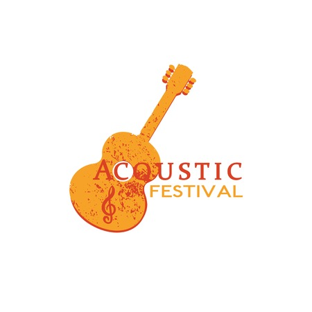 Template Design with acoustic guitar silhouette. Idea for Live Music Festival. Abstract musical instrument icon for entertainment promotion. Grunge advertisement background. Vector illustration. Illustration