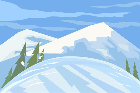 snow white: Green landscape. Mountain winter scene concept.  Outdoor background with snow hill trees cloudy blue sky. Daylight valley scenic view. Flat design for banner. Cartoon style. Vector Illustration
