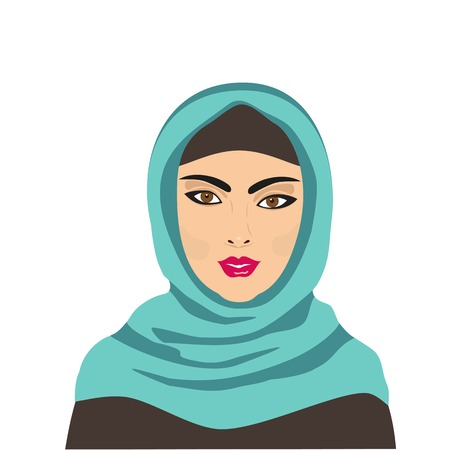 jilbab: East people. Portrait of Muslim young beautiful woman dressed in blue hijab. Cartoon style. Traditional Islamic dress. Face isolated on white. Vector illustration