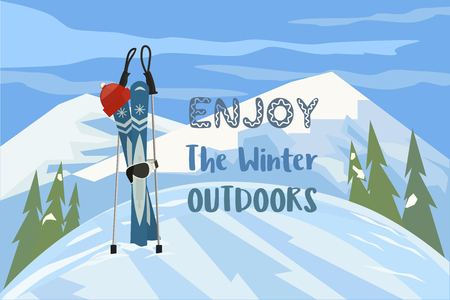 lifestyle outdoors: Cartoon mountain ski hat mask on snowy hill. Enjoy winter outdoors sport banner background. Design idea for advertisement of active lifestyle. Glacier valley landscape. Vector Illustration.