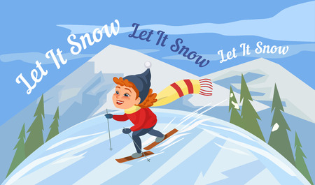 promotion girl: Cartoon skiing girl on snowy hill. Happy Kid icon. Cute smiling happy child on ski enjoy winter outdoors sport in mountain resort. Idea to advertise active lifestyle. Vector season greeting card Illustration