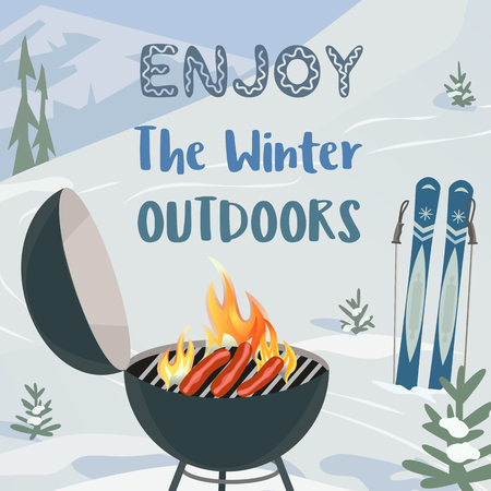 winter grilling: Winter holiday concept. Cartoon style. Enjoy winter outdoors. Winter holiday outdoor sport and leisure banner background. Mountain ski resort valley. Barbecue grill on snowy hill. Vector illustration