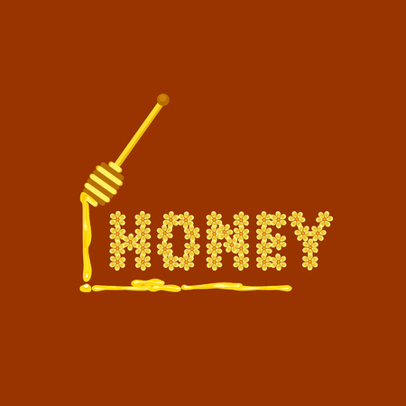 Honey falling from wooden dipper isolated on amber background. Cartoon flowers sweet nectar symbol. Design idea food sign emblem. Golden healthy liquid drops dipping from stick. Vector illustration