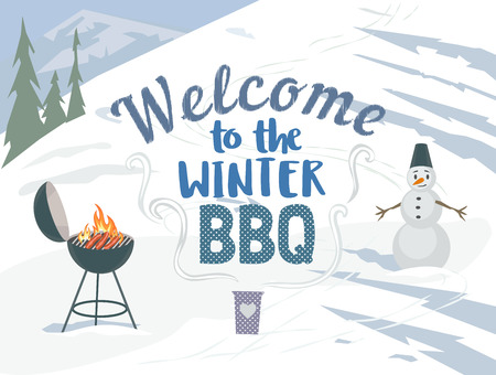 winter grilling: Winter outdoors concept. Cartoon retro style poster. Welcome invitation to barbecue picnic. Season holiday leisure banner background. Mountain ski resort valley. Flaming BBQ grill. Vector illustration