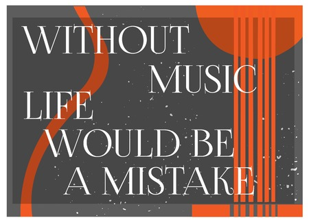 Inspirational Quote Without Music Life would be a MIstake. Typography Poster Concept. Guitar silhouette background.Idea for musical themed design. Vector Illustration.