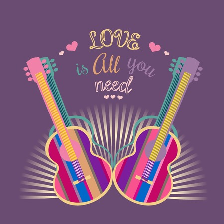 Motivated famous Music Quote Love is all you need. Acoustic Guitar silhouette. Template for poster, flyer. Idea for design live music festival, concert, club, bar, hipster party. Vector Illustration