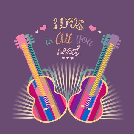 Motivato famosa Love Music citazione è tutto ciò che serve. silhouette chitarra acustica. Modello per poster, flyer. Idea per Design Festival di musica dal vivo, concerti, club, bar, partito pantaloni a vita bassa. illustrazione vettoriale