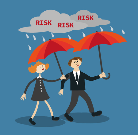 reduce risk: Motivation Business Poster Concept in Flat style. Busimessman businesswoman are secured by proper managements umbrellars in the rain of risks. Vector Illustration.