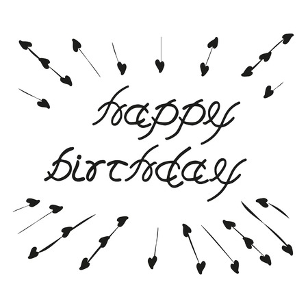 sketched: Lettering Happy Birthday. Hand sketched isolated graphic element. Greeting Vintage style. Template for birthday greeting card, flayer, banner, poster with letters Happy birthday. Vector illustration. Illustration