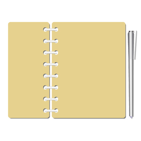 reminding: Flat identity blank notebook sheets, pages. Checklist, memo, testing. Paper and pen for writing, drawing. Book for reminding, testing. Template for conference check and test. Vector illustration. Illustration