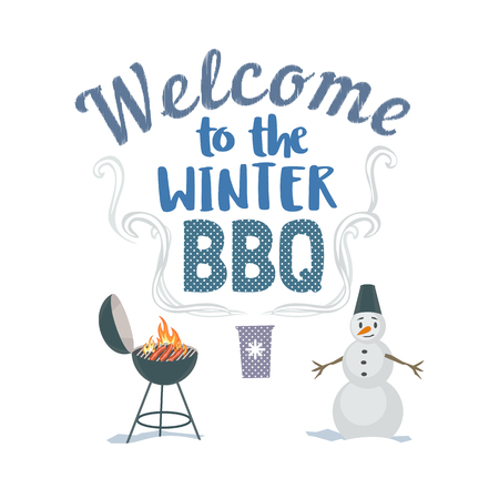 winter grilling: Winter outdoors concept. Cartoon retro style poster. Welcome invitation to barbecue picnic. Season holiday leisure banner background. Flaming garden BBQ grill, roasted sausage. Vector illustration