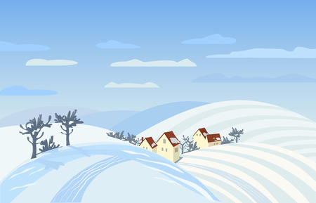rural scene: Countryside winter landscape. Farm houses silhouettes in snowy fields. Rural community among hills,  mountains with snow.  Country winding road. Village scene background. Vector Illustration