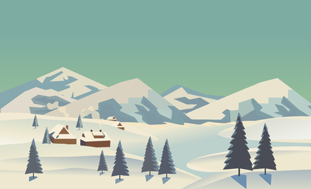 rural scene: Winter nature landscape. Mountain river in snowy glacier valley. Houses on bank under snow. Lake view in hills pine trees. Countryside rural scene background. Cartoon outdoors vector Illustration