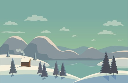 Winter nature landscape. Mountain river in snowy glacier valley. House on bank under snow. Lake view among hills pine trees. Countryside frost scene background. Cartoon outdoors vector Illustration