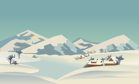 rural scene: Winter nature landscape. Mountain river in snowy glacier valley. Houses on bank under snow. Lake view among hills, trees. Countryside rural scene background. Cartoon outdoors vector Illustration