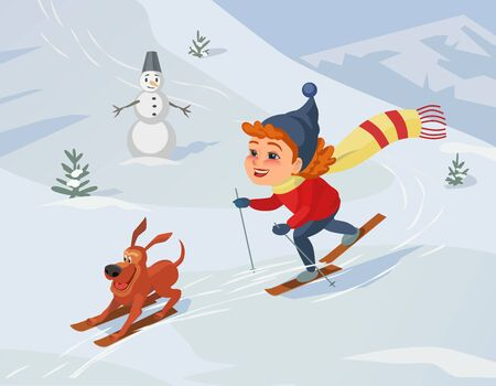 lifestyle outdoors: Winter outdoors concept. Cartoon fancy retro style poster. Skiing girl and dog on snowy hill. Cute happy child and pet on ski enjoy active lifestyle sport. Season holiday leisure banner background. Illustration