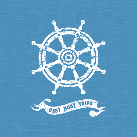 Best boat trips icon. Grunge texture background. Ship helm icon. Sailboat steering wheel vintage label. Nautical rudder emblem. Sea navigation element. Sail symbol. Freehand drawn retro style banner