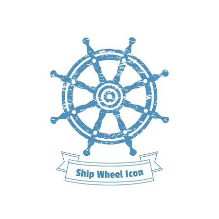 rudder ship: Ship helm icon. Sailboat steering wheel badge. Vintage marine label. Nautical rudder sign emblem. Vector sea navigation element. Sail vessel symbol. Freehand drawn retro style banner grunge background Illustration
