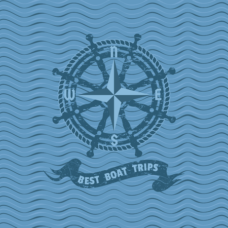 Best boat trips icon. Grunge texture background. Ship helm icon. Steering wheel compass vintage label. Nautical rudder emblem. Sea navigation element. Sail symbol. Freehand drawn retro style banner