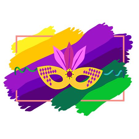 parade: Carnival mask icon colorful background. Mardi Gras celebration concept. Freehand cartoon fancy style. Masquerade parade traditional symbol. Holiday carnival sticker template. Vector decorative banner