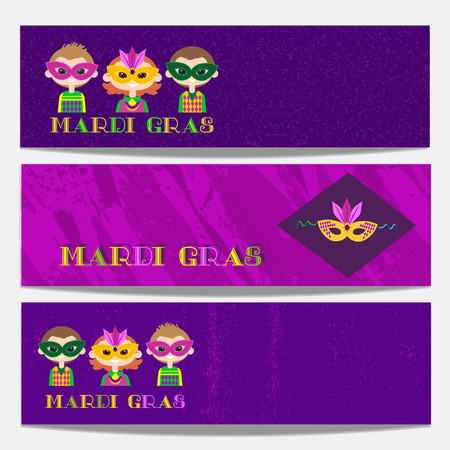 masquerade masks: Mardi Gras celebration. Set of horizontal banners. Freehand cartoon fancy style. Kids in masquerade costumes, masks. Template for carnival invitation greeting. Vector headline decoration background