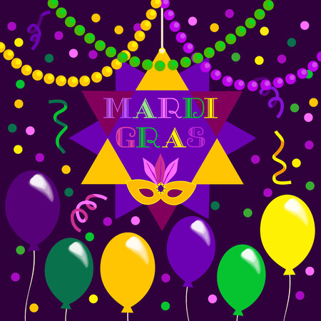 parade: Mardi Gras celebration. Freehand cartoon fancy letters. Masquerade street parade traditional beads mask symbols. Traditional holiday carnival invitation. Vector headline decoration banner background