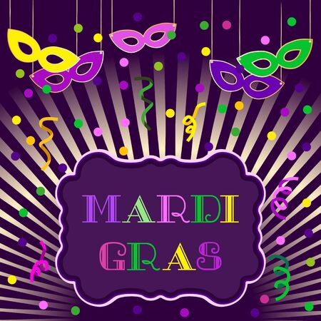 parade: Mardi Gras celebration. Freehand cartoon fancy letters. Masquerade street parade traditional symbols. Greeting card for traditional holiday carnival. Vector headline decoration banner background