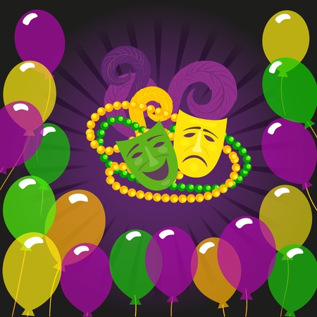 Mardi Gras celebration poster. Freehand cartoon fancy mask feather beads. Masquerade street parade traditional symbols. Holiday carnival invitation design element. Vector decorative banner background
