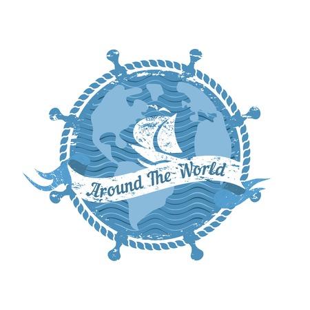 Travel nautical icon. Ocean trip journey around the world. Vintage retro poster concept. Steering helm compass stamp. Design idea cruise ship tour emblem. Vector advertisement label background