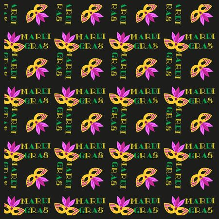 parade: Carnival seamless pattern. Mardi Gras celebration sign. Freehand cartoon fancy mask. Masquerade parade traditional colorful symbols. Holiday packaging template. Vector decorative banner background Illustration