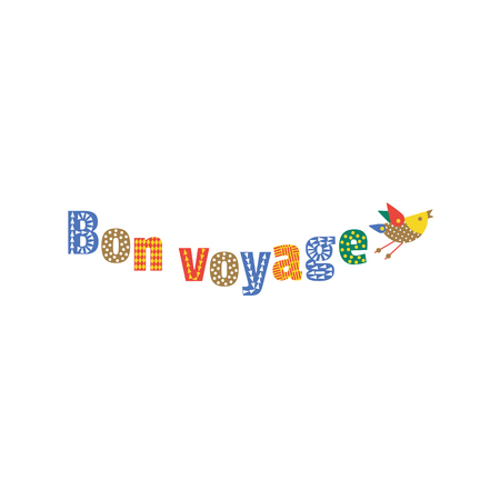 french fancy: Travel icon have a nice trip - Bon Voyage in French. Freehand fancy cartoon style letters, cute flying bird icon. Vintage headline concept, vacation tour emblem. Vector advertisement label background