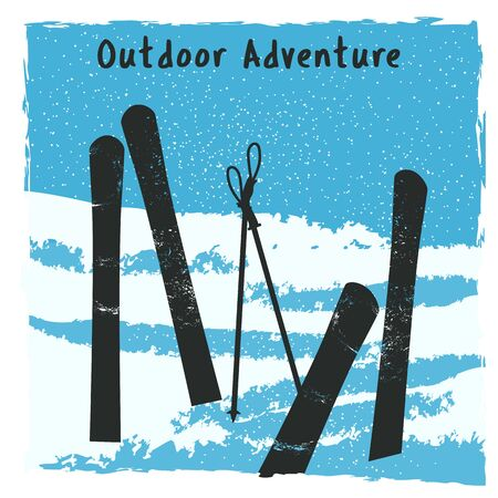 Outdoor adventure retro poster Illustration
