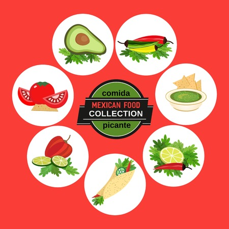 spicy: Set of icons. Spicy cuisine Illustration
