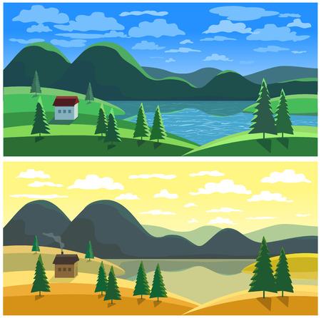 barn wood: Mountain valley landscape in two seasons